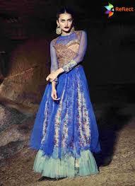 gown design blue silk and net designer gown