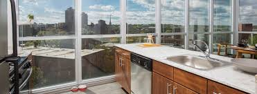 loring park luxury apartments in minneapolis a luxurious kitchen in lpm apartments with a sweeping view of downtown minneapolis