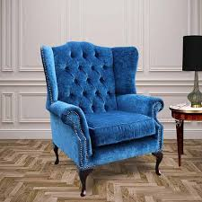Chesterfield Wing Armchair Chesterfield Fabric Mallory Flat Wing High Back Wing Chair Royal