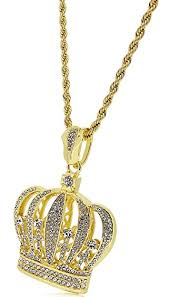 new diamond necklace images Bling king new gold plated crystal crown pendant with diamond cut jpg