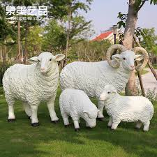simulation sheep decoration glass steel sheep sculpture villa