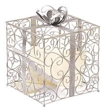 silver wedding reception gift card holder target