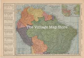 Map Of South American Countries Old Map Of South America Brazil Colombia Venezuela Peru