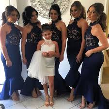 black bridesmaid dresses popular halter lace appliques top mermaid black bridesmaid dresses