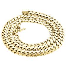 gold solid necklace images 14k yellow gold solid miami cuban link chain 8mm box clasp jpg
