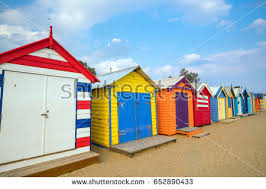 colorful beach house brighton beach melbourne stock photo