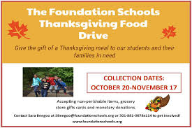 2016 thanksgiving date the foundation schools annual thanksgiving food drive