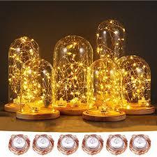 copper wire led lights led string lights 6ft with 20 leds og evkin 6 packs waterproof