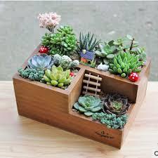 decorative flattened rectangular garden stone wooden bonsai flower