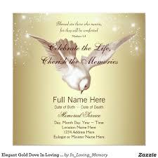 dove wedding invitations elegant gold dove in loving memory memorial invitation funeral