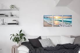 art for house qicai 3 panel canvas wall art for home decor blue sea sunset white