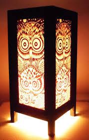 thai vintage handmade asian oriental night owl bedside table light