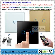 uk standard 3 gang 2 way remote light touch switch with tempered