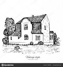 old european house vintage vector sketch tile mansion historical