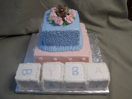 teddy bear and blocks baby shower cake a two tier baby sho u2026 flickr
