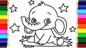 how to draw and color elephant for baby coloring book for kids
