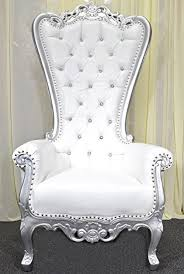 Throne Chair Silver Baroque Carved Throne Chair With White Vinyl