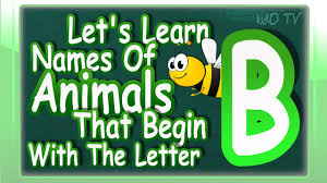animals names in english that begin with the letter b learn