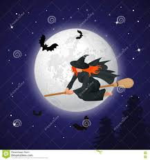 halloween party background silhouette of a witch flying on a broomstick across a full moon at