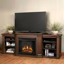 Media Center With Fireplace by Pair Of Triple Shelf For Display Storage And Brown Fireplace