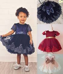 2017 new baby princess dress clothes sleeve lace bow