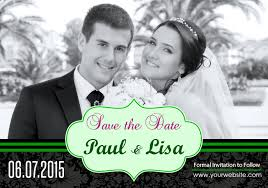 Save The Date Wedding Magnets 3 5x5 Custom Green Stripe Floral Ornament Wedding Save The Date