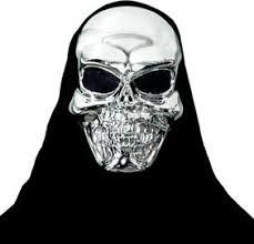 silver mask black metallic skeleton mask party city