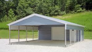 Garage With Carport Steel Garage Carport Combo One Two Or Three Car Metal Garage