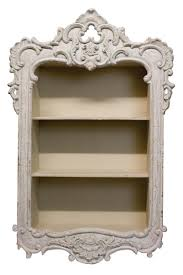 antique white french country style carved wall shelf display unit