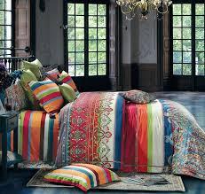 striped ethnic boho duvet cover set colorful modern hippie style