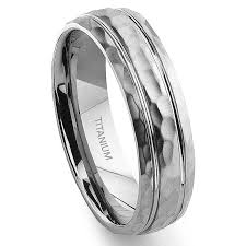 titanium mens wedding bands titanium hammer finish groove wedding band ring