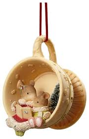enesco of mouse reading teacup ornament