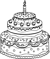 Tiered Birthday Cake Coloring Pages To Print Coloringstar Birthday Cake Coloring Pages