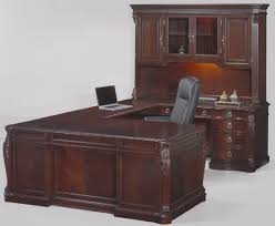 u shaped desks mahogany wood u shaped desk with hutch