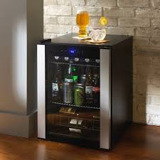 Home Mini Bar by Evolution Series Beverage Wine Center Refrigerator Black Glass