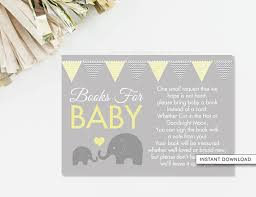 bring a book instead of a card poem bring a book card elephant baby shower book poem card book