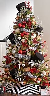 good looking black christmas tree with red decorations shining