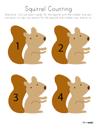 squirrel counting toddler and preschool printable fall unit