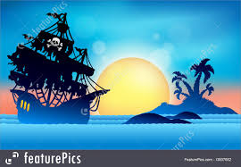 science fiction and fantasy pirate ship near small island 1