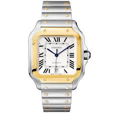 cartier watches bracelet images Cartier santos large steel 18ct yellow gold bracelet strap watch jpg