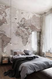 25 best world map wall ideas on pinterest bedroom wallpaper 11 larger than life wall murals soft neutrals work a dream in this bedroom this world map wallpaper adds a stylish and elegant look to any room
