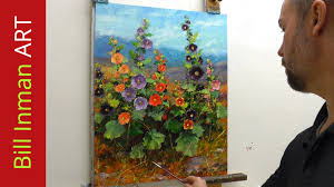how to paint hollyhocks online art courses fast motion oil