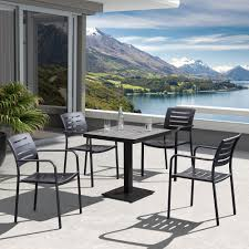 Outdoor Table Ls Zander Outdoor Brown Patio Dining Room Set From Armen Living