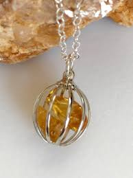november birthstone citrine necklace citrine cage pendant crystal pendant november