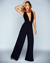 plunging jumpsuit myleene klass flashes the flesh in a plunging jumpsuit and lace