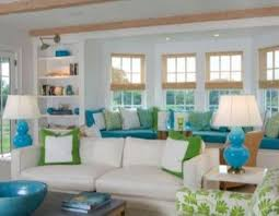 turquoise living room interesting wall with white shelf by idolza
