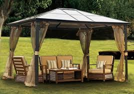 Patio Gazebo X 12 Outdoor Hardtop Polycarbonate Roof Patio Gazebo W Netting