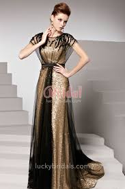 luxury gold sequined cap sleeve evening prom dress with black