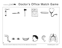 made by joel work sheets for doctor tools coloring pages
