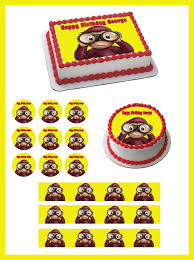 curious george cupcakes curious george 2 edible birthday cake and cupcake topper edible